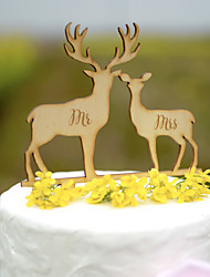 Wedding Cake Topper in Natural Wood Color Fits 4-8 Inches Cakes