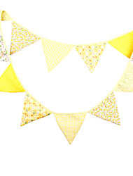 3.2m 12 Flags Yellow Banner Pennant Cotton Bunting Banner Booth Props Photobooth Birthday Wedding Party Decoration