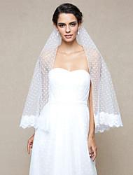 Véus de Noiva Uma Camada Véu Ponta dos Dedos Borda com aplicação de Renda Rede