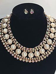 Joyas 1 Collar 1 Par de Pendientes Boda Fiesta Ocasión especial Legierung Brillante 1 Set Dorado Regalos de boda