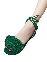 Women's Sandals Comfort PU Spring Summer Casual Dress Comfort Braided Strap Low Heel Black Ruby Green Under 1in
