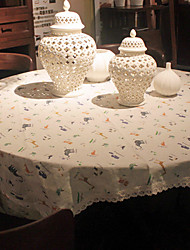 Round Print Animal Toile Table Cloth , Linen / Cotton Blend Material Table Decoration 1/set