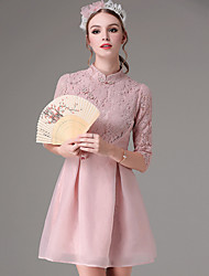 KANF Formal Vintage A Line DressSolid Stand Knee-length  Length Sleeve Cotton Pink Fall Mid Rise Micro-elastic