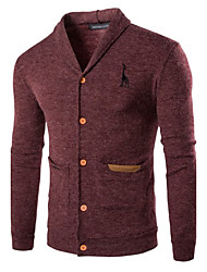 Men's Casual/Daily Simple Regular Cardigan,Solid Red Gray V Neck Long Sleeve Cotton Polyester Spring Fall Medium Micro-elastic