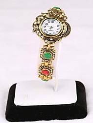 Armband-Uhr Quartz Legierung Band Gold Gold