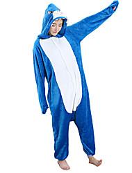 kigurumi Pyjamas Requin Collant/Combinaison Fête / Célébration Pyjamas Animale Halloween Bleu Motif Animal Flanelle Costumes de Cosplay
