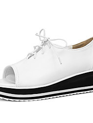Flats Shoes Spring Summer Fall Comfort Leatherette Office & Career Casual Creepers Lace-up Black White Sliver