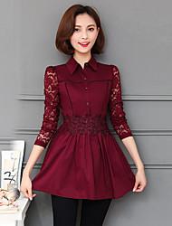 unterzeichnen Frühjahr 2017 Frauen&# 39; s Spitze-Hemdfrau Langarmhemd weiblichen koreanischen kleinen T-Shirt
