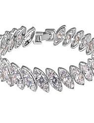Feminino Pulseiras em Correntes e Ligações Cristal Zircão Zircônia Cubica Resina Natureza Moda Jóias de Luxo Forma Redonda Prata Jóias