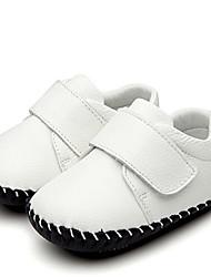 Mädchen Baby Flache Schuhe Lauflern Kunstleder Sommer Normal Walking Lauflern Klettverschluss Niedriger Absatz Weiß Schwarz Blau Flach