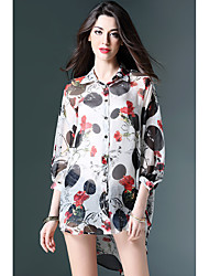 Women's Going out Beach Simple Street chic Spring Summer Shirt,Floral Color Block Shirt Collar ¾ Sleeve White Black Silk Thin