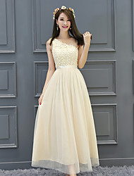 Ankle-length Satin Tulle Elegant Bridesmaid Dress - A-line One Shoulder with Embroidery