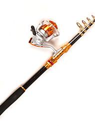 Caña de pescar Caña telescópica de giro Acero de carbono 270 M Pesca en General Cañas + Carrete de la pesca Negro-Other