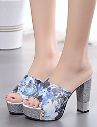Damen-High Heels-Kleid-PU-BlockabsatzRot Blau