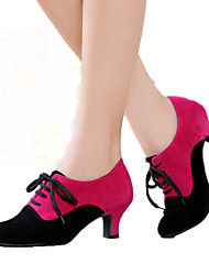 Women's Dance Shoes Suede Suede Modern Heels Cuban Heel Indoor Black Red Fuchsia Customizable