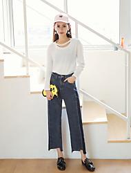 assinar coreano vento bf solta atingiu a cor das calças de brim magros do sexo feminino pequenos harem pants calças colapso