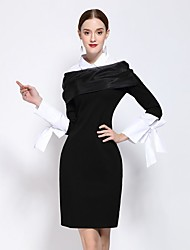 Going out Work Sexy Sophisticated Sheath Dress,Color Block Shirt Collar Above Knee Long Sleeve Polyester Black Winter Mid Rise