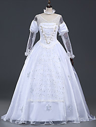 Alice in Wonderland White Queen Cosplay Costume Halloween Holiday Women Long White Dress