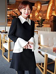 início da primavera 2017 hit coreano saia feminina vestido de manga cor da costura trombeta