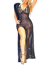 Moulante Robe Femme Soirée / Cocktail Soirée Sexy Vintage,Couleur Pleine A Bretelles Maxi Sans Manches Noir Polyester Eté AutomneTaille