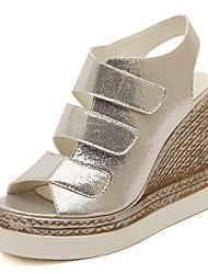 Women's Sandals Summer Gladiator Comfort PU Office & Career Casual Wedge Heel Hook & Loop Silver Gold Walking