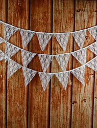 3.2m 12 Flags White Flower Banner Pennant  Lace  Bunting Banner Booth Props Photobooth Birthday Wedding Party Decoration