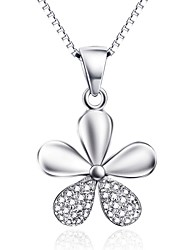 Pendants Sterling Silver Zircon Cubic Zirconia Basic Flower Style Silver Jewelry Daily Casual 1pc