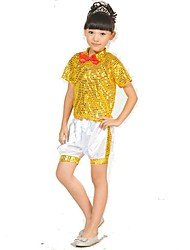 Jazz Outfits Children's Performance Spandex Sequined Sequins 2 Pieces Short Sleeve Natural Top Shorts