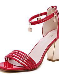 Damen-Sandalen-Kleid-PU-BlockabsatzSchwarz Rot Rosa