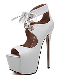 Damen-High Heels-Kleid-PU-Stöckelabsatz-Knöchelriemen-Schwarz Weiß