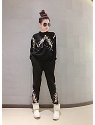 Spot personalized fashion sequins embroidered long-sleeved pants suit two-piece knit sweater