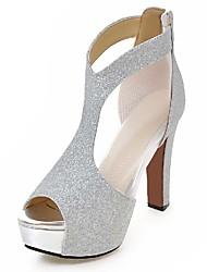Damen-Sandalen-Lässig Party & Festivität Kleid-PU-BlockabsatzGold Schwarz Silber