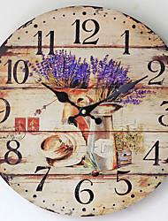 Traditionnel Rustique Antique Rétro Vacances Famille Horloge murale,Nouveauté Bois Plastique 35*35 Intérieur/Extérieur Intérieur Horloge