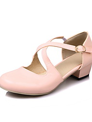 Women's Heels Spring Summer Fall Flower Girl Shoes Patent Leather Casual Chunky Heel Buckle Black Pink Beige