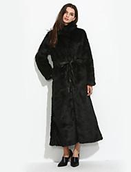 Mulheres Casaco de Pelo Casual / Formal Simples / Moda de Rua Inverno,Sólido Branco / Preto Pêlo Sintético Colarinho Chinês-Manga Longa
