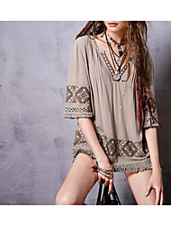 Women's Going out Casual/Daily Sexy Simple Street chic Spring Fall T-shirt,Print V Neck Silk Cotton Medium