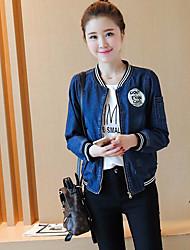 Sign 2016 autumn new female long-sleeved denim jacket casual baseball uniform short paragraph wild student