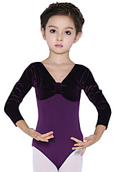 Ballet Leotards Children's Training Cotton Splicing 1 Piece Long Sleeve Natural Leotard