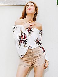 T-shirt Da donna Casual Vacanze Sensuale Romantico Estate,Fantasia floreale A barca Poliestere Bianco Manica lunga Sottile