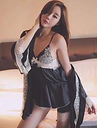 Damen Frau Satin & Seide Besonders sexy Anzüge Dessous mit Strumpfband Dessous Nachtwäsche,Sexy Spitze einfarbig-Satin Seide Chiffon