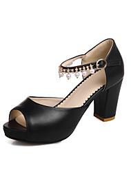 Sandalen-Büro Kleid Lässig-PU-Blockabsatz-Club-Schuhe-Schwarz Rosa Weiß