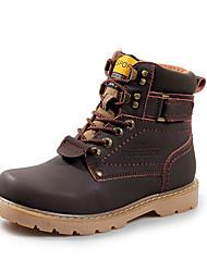 Men's Boots Winter Comfort PU Outdoor Chunky Heel Lace-up Yellow Light Brown Dark Brown