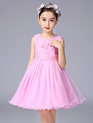 Ball Gown Short / Mini Flower Girl Dress - Cotton Lace Tulle Sleeveless Jewel with Appliques Flower(s) Sash / Ribbon