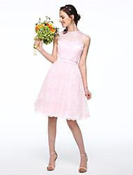 Lanting Bride® Mi-long Mousseline de soie Dentelle Elégant Robe de Demoiselle d'Honneur  - Robe de Soirée Bijoux avecDentelle Ceinture /