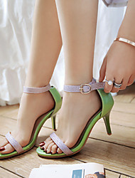 Women's Sandals Spring Summer Fall PU Dress Casual Party & Evening Stiletto Heel Buckle White Green Blushing Pink