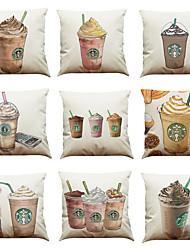 Set of 9 Coffee Starbucks pattern Linen Pillowcase Sofa Home Decor Cushion Cover