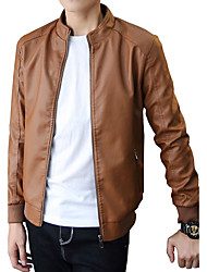 Men's Casual/Daily Work Club Simple Street chic Leather Jacket,Solid Stand Long Sleeve Fall Winter Wash separately Cotton Polyester