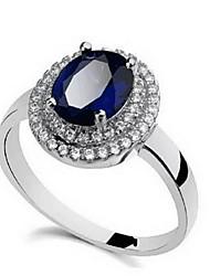 Anello Zaffiri Pietre preziose Strass Lega A forma di fiore Gioielli Faretto multicolore Di tendenza Personalizzato Euramerican Blu scuro