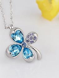 Pendentif de collier Cristal Forme de Fleur Trèfle à quatre feuilles Cristal Basique A Fleurs Pendant Mode Bleu de minuit Bijoux Pour