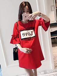 2017 rotes T-Shirt und lange Abschnitte Shirt Schwangere T-Shirt mit der fünften Hülse Kleid westlichen Stil Frauen grundiert Rock